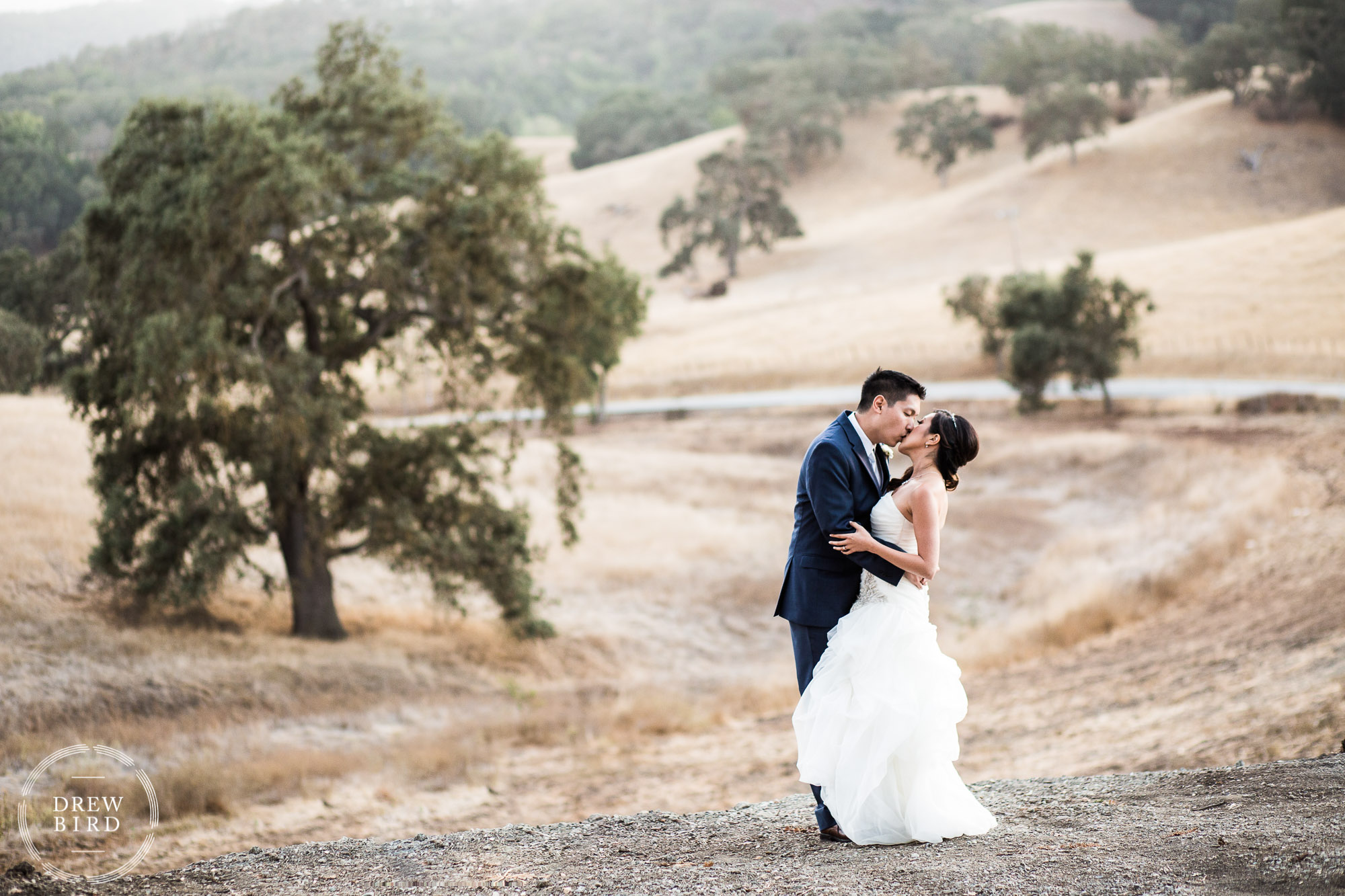 Wedding couple kissing in rolling california hills. Willow Heights Mansion wedding photographer Morgan Hill, California.