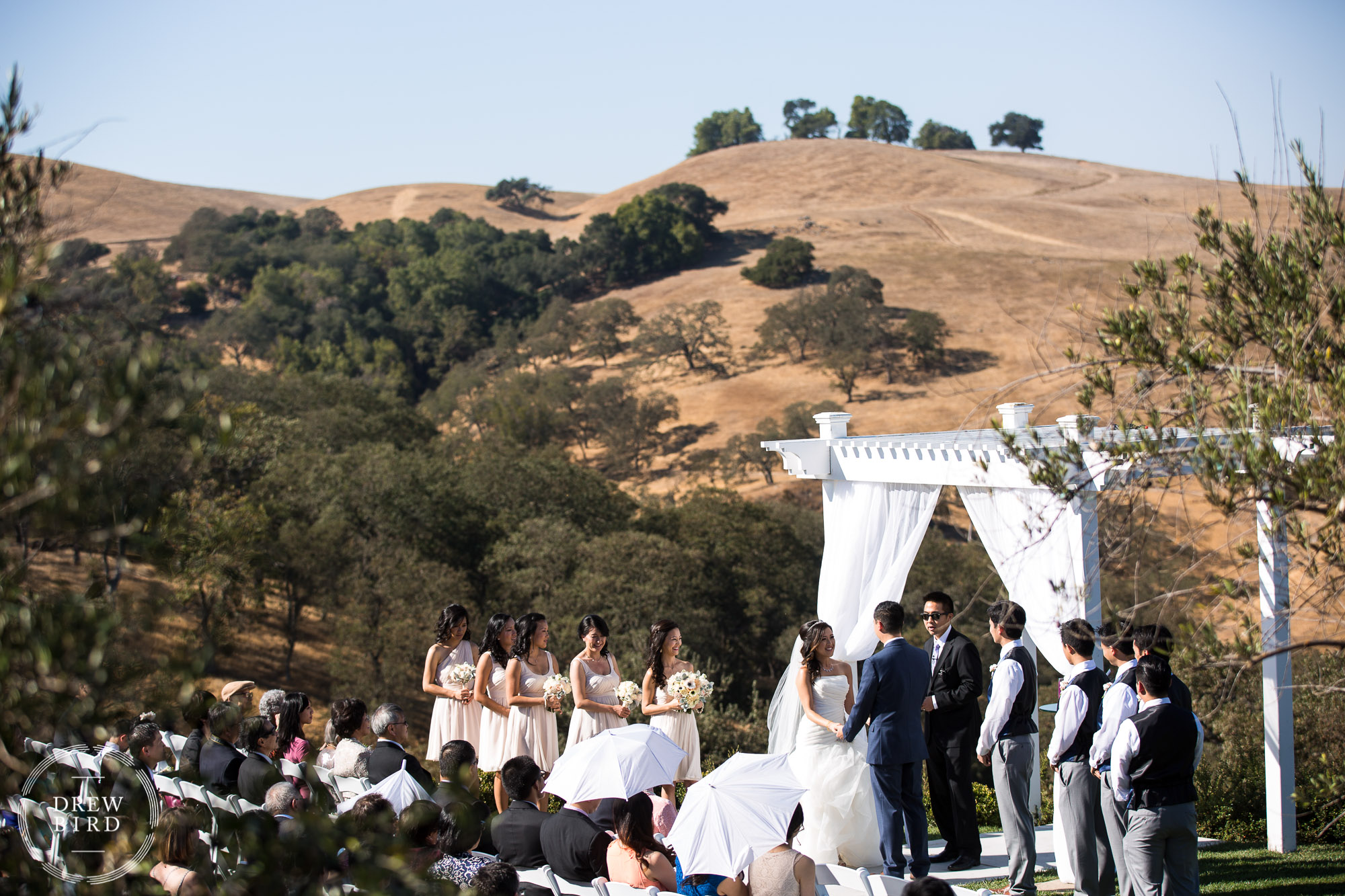 Bride and groom and wedding party during ceremony at outdoor wedding at Willow Heights Mansion. California rolling hills in the background. San Jose bay area wedding and photographer for chinese weddings Drew Bird.