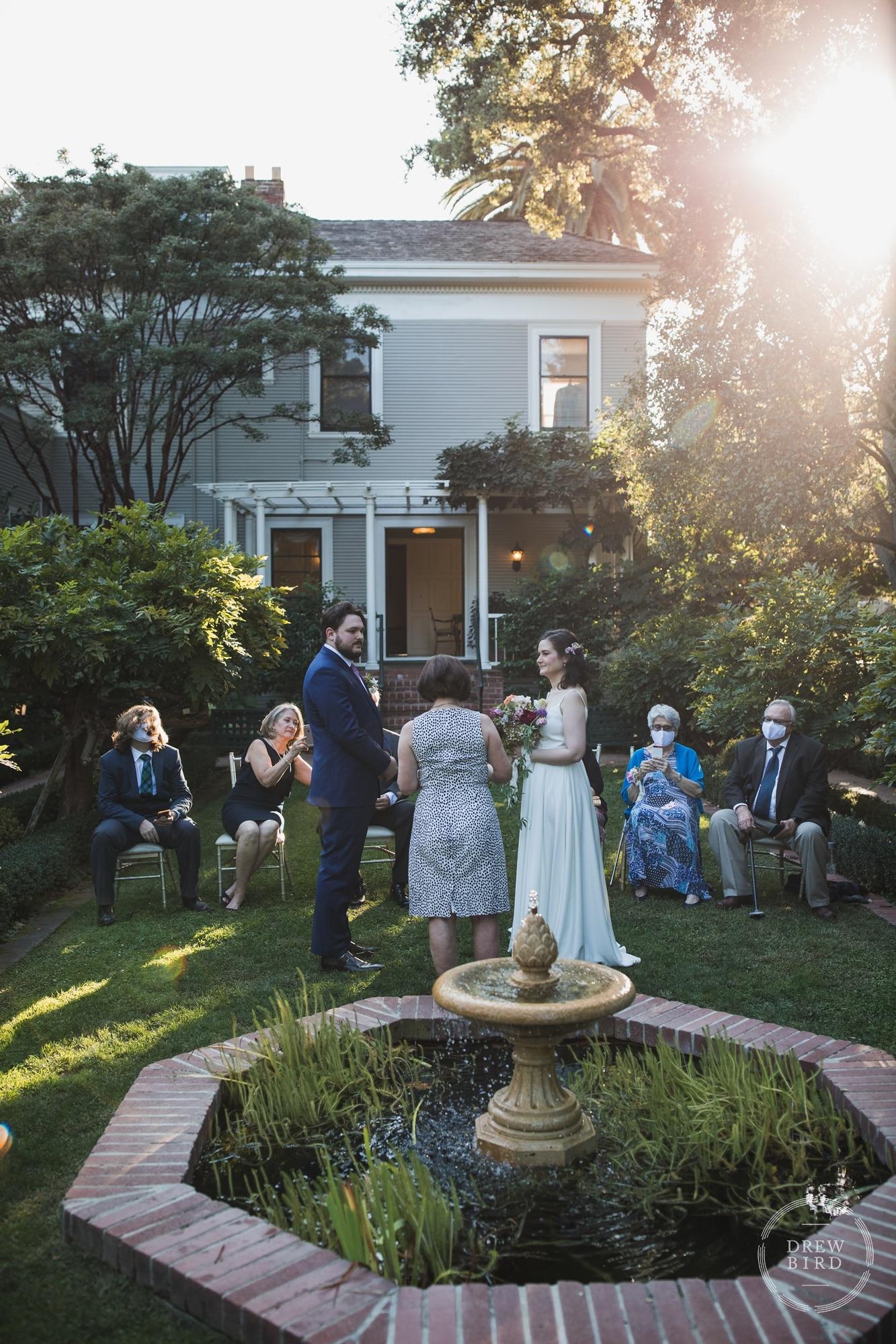 Micro wedding elopement at Gamble Gardens in Palo Alto. San Francisco wedding photographer Drew bird.